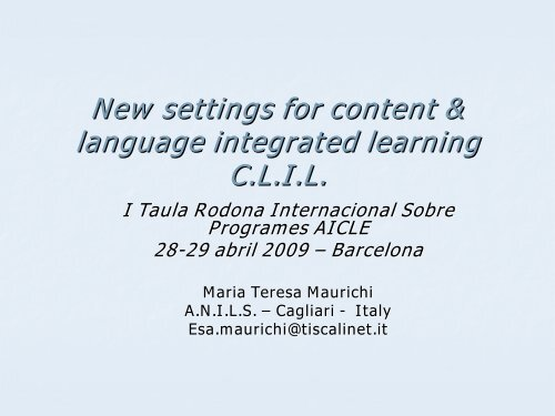 New settings for content & language integrated learning C.L.I.L.