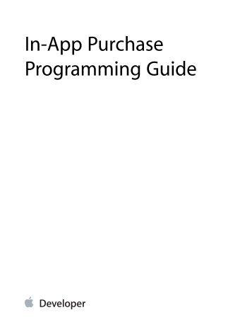 In-App Purchase Programming Guide - Apple Developer
