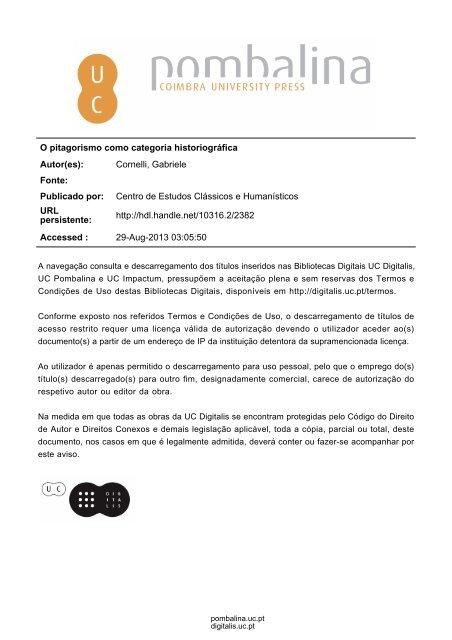 1813dba91 O pitagorismo como categoria historiográfica Autor(es): Cornelli ...