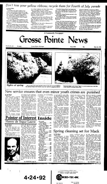 Grosse Pointe News - Local History Archives