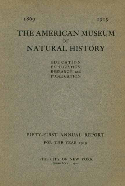 1919 American Museum of Natural History
