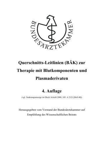 Querschnitts-Leitlinien (BÄK) - Blutspendedienst NSTOB