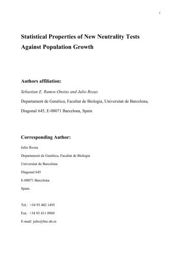 A power analysis of statistical tests of neutrality against population ...