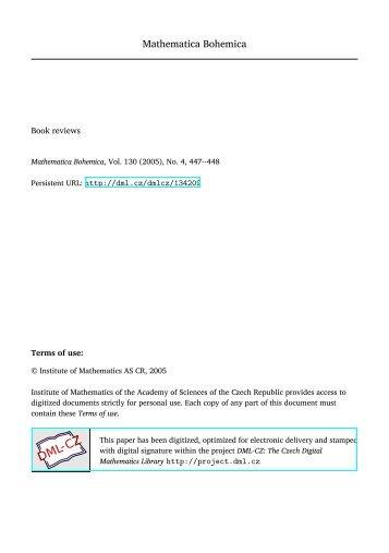 Mathematica Bohemica - Czech Digital Mathematics Library