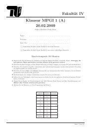 Fakultät IV Klausur MPGI 1 (A) 20.02.2009