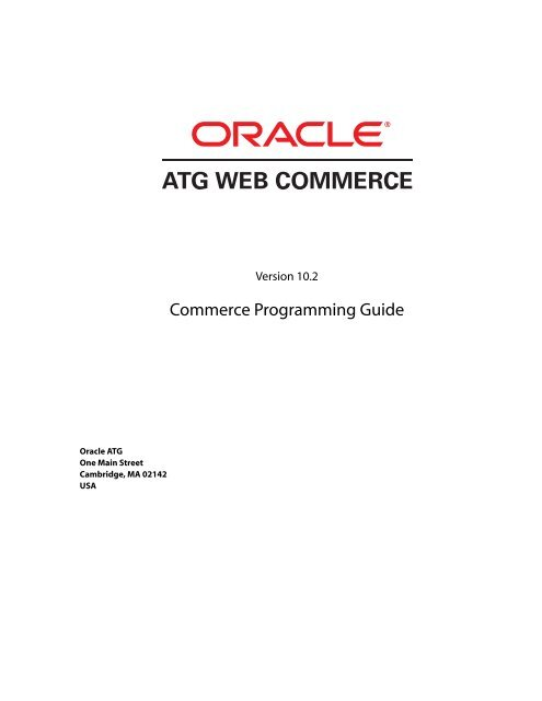 Atg commerce programming guide 10. 0. 2.