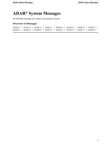 ADAR* System Messages - Software AG Documentation