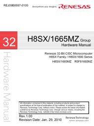 H8SX/1665MZ Group Hardware Manual - Renesas Electronics