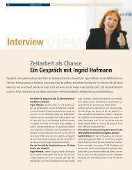 Interview: Zeitarbeit als Chance: Ein Gespräch mit Ingrid Hofmann ...