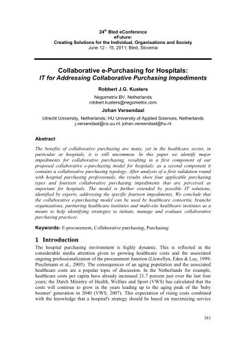 Collaborative e-Purchasing for Hospitals: 1 Introduction
