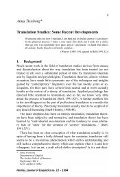 Anna Trosborg* Translation Studies: Some Recent Developments