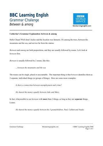 between & among blurb - BBC