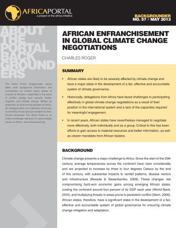 African Enfranchisement in Global Climate Change Negotiations