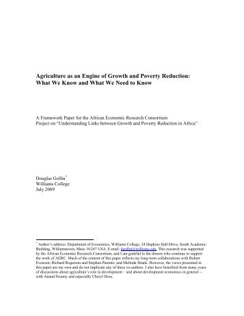 Agriculture as an Engine of Growth and Poverty Reduction- What ...
