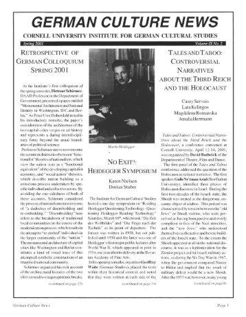 GERMAN CULTURE NEWS - Cornell University