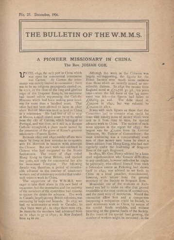 THE BULLETIN OF THE W.M.M.S.
