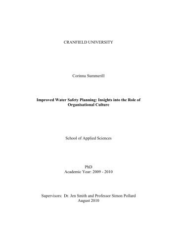 CRANFIELD UNIVERSITY Corinna Summerill Improved Water ...