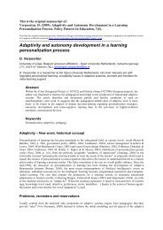 Adaptivity and autonomy development in a learning personalization ...