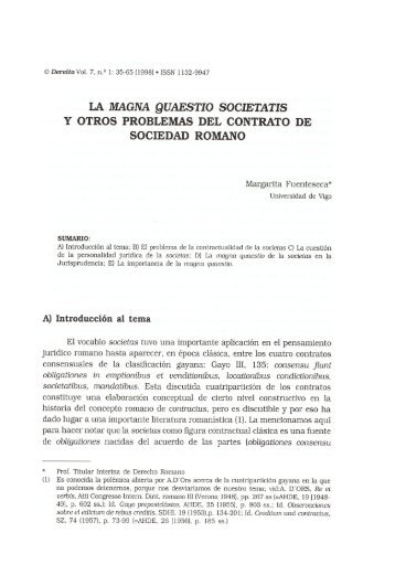 la magna quaestio societatis y otros problemas del contrato de ...