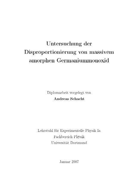 Untersuchung der Disproportionierung von massivem amorphen ...