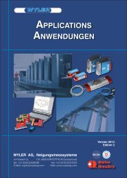 APPLICATIONS ANWENDUNGEN - Wyler AG.