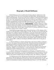Biography of Roald Hoffmann - eCommons@Cornell - Cornell ...