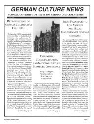 GERMAN CULTURE NEWS - eCommons@Cornell