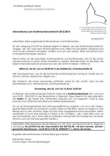 Anmeldung zum Konfirmandenunterricht 2013/2014 - Waldkirche ...