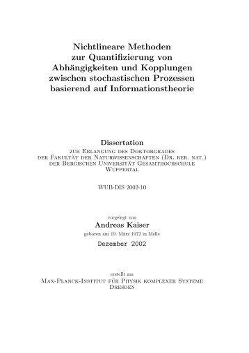 Nichtlineare Methoden zur Quantifizierung von Abhängigkeiten und ...