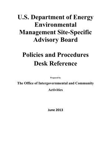 Policies and Procedures - U.S. Department of Energy