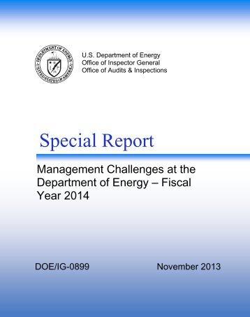 Special Report: IG-0899 - U.S. Department of Energy
