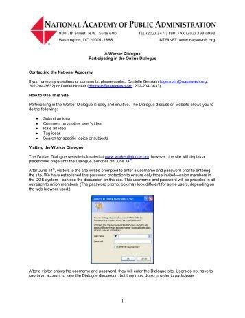 Worker Dialogue Website User's Guide - U.S. Department of Energy