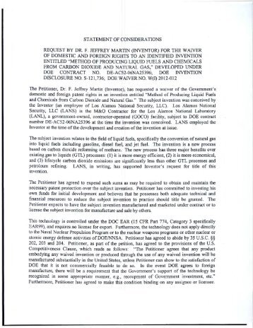 Identified Patent Waiver W(I)2012-012 - U.S. Department of Energy