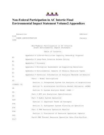 Non-Federal Participation in AC Intertie Final Environmental Impact ...
