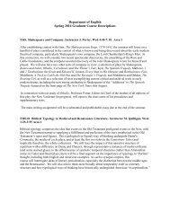 Department of English Spring 2014 Graduate Course Descriptions