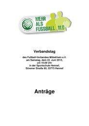 Anträge auf Änderung der Satzung - Fußball-Verband Mittelrhein e.V.