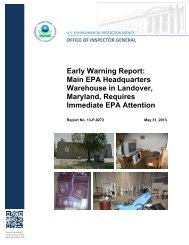 Early Warning Report: Main EPA Headquarters Warehouse in ...
