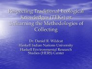 Respecting Traditional Ecological Knowledges (TEK) or Unlearning ...