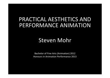 PRACTICAL AESTHETICS AND PERFORMANCE ANIMATION ...