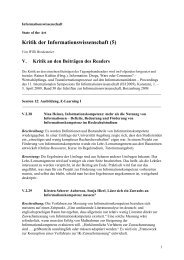 Kritik der Informationswissenschaft (5) - E-LIS