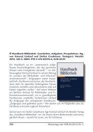Handbuch Bibliothek. Geschichte, Aufgaben, Perspektiven ... - E-LIS