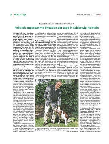 Politisch angespannte Situation der Jagd in Schleswig-Holstein