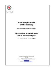 Acquisitions of the library: mid-September to October 2013 - ICRC