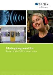 Schulungsprogramm Lärm - Die BG ETEM
