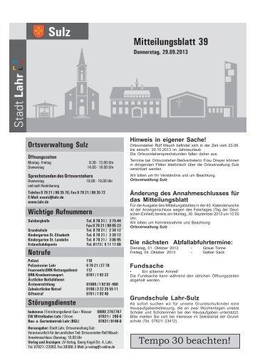 Mitteilungsblatt Sulz 39 / 2013 (application/pdf) - Stadt Lahr