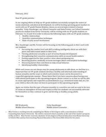 February, 2012 Dear 8th grade parents; In our ... - Seven Hills School