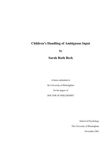 Children's Handling of Ambiguous Input - eTheses Repository