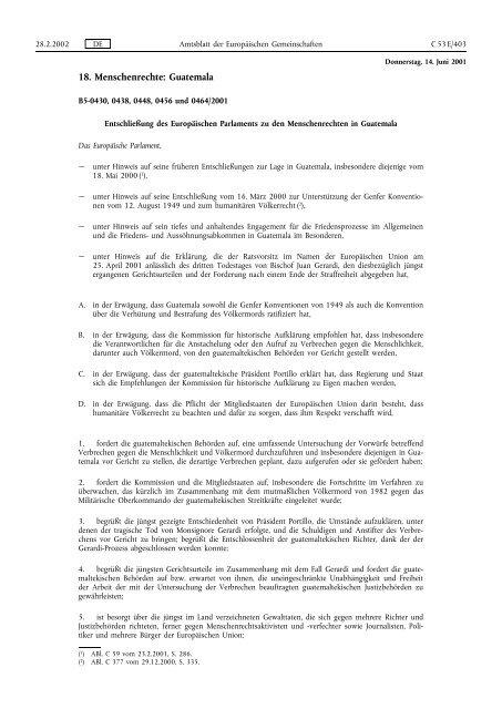 Entschließung des Europäischen Parlaments zu den ... - EUR-Lex