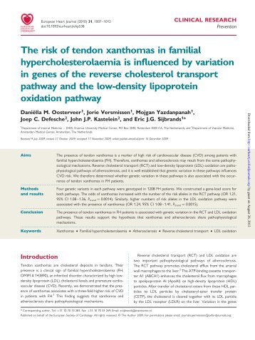 The risk of tendon xanthomas in familial hypercholesterolaemia is ...