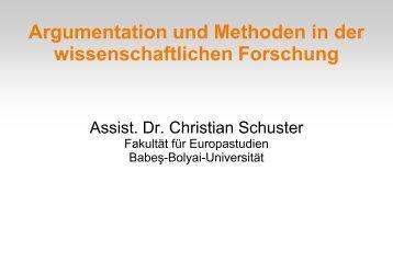 Argumentation und Methoden in der wissenschaftlichen Forschung